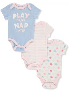 Quiltex Baby Bodysuits, 3-Pack Play Now Nap Later