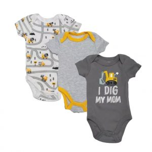 Quiltex Baby Boy Bodysuits, 3-Pack I Dig Mom