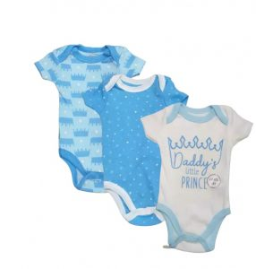 Quiltex Baby Boy Bodysuits, 3-Pack Daddy's Little Prince