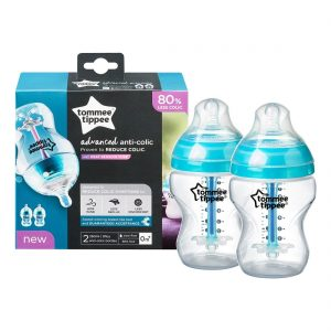 Tommee Tippee 2 Pack Advanced Anti Colic Feeding Bottle With Heat-Sensing Technology 9oz