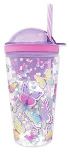 Hot Focus Butterflies Purple Insulated Confetti Glitter Dome Snack N' Drink Tumbler w/Stickers