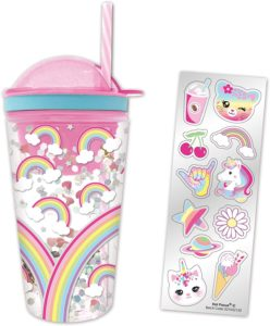 Hot Focus Rainbows Pink Insulated Confetti Glitter Dome Snack N' Drink Tumbler w/Stickers