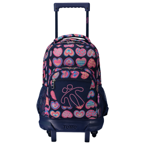Totto Girl's Wheeled Backpack Heart – Print