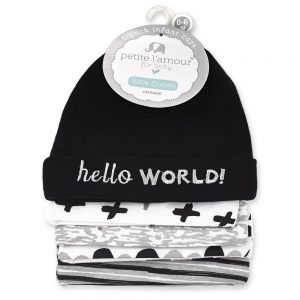 Petite L'amour Baby Caps 0-6 Months – 5pk Hello World