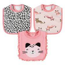 Gerber 3-Pack Girls Leopard Bibs