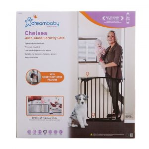Chelsea 28-32in Auto Close Metal Baby Gate – Black