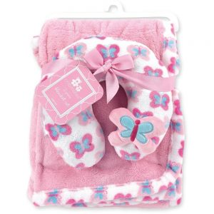 Cribmates Soft Plush Blanket with Travel Pillow – Butterfly