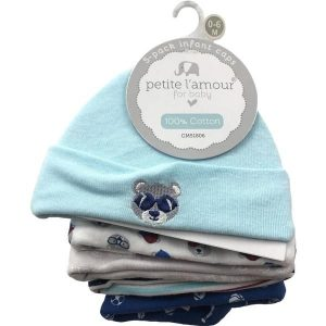 Petite L'amour Baby Caps 0-6 Months – 5 Pack, Bear