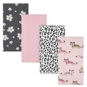 4-Pack Girls Leopard Flannel Burp Cloth